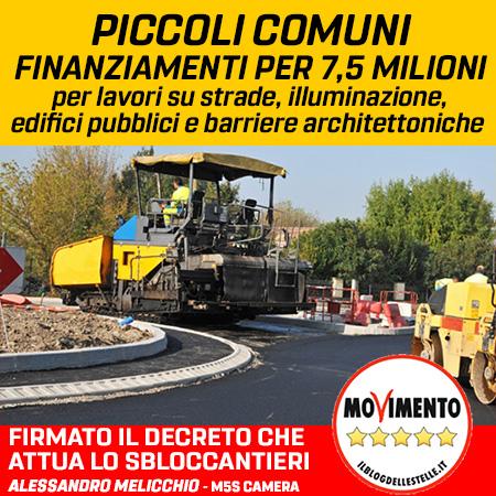 PICCOLI COMUNI, FINANZIAMENTI PER 7,5 MLN