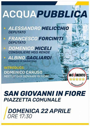 A San Giovanni in Fiore per l'acqua pubblica