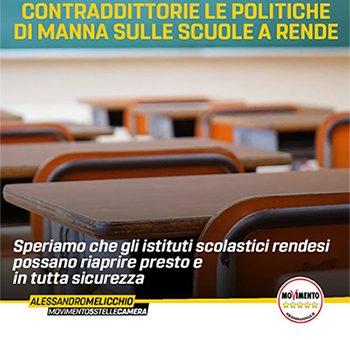CONTRADDITTORIE LE POLITICHE DI MANNA SULLE SCUOLE A RENDE